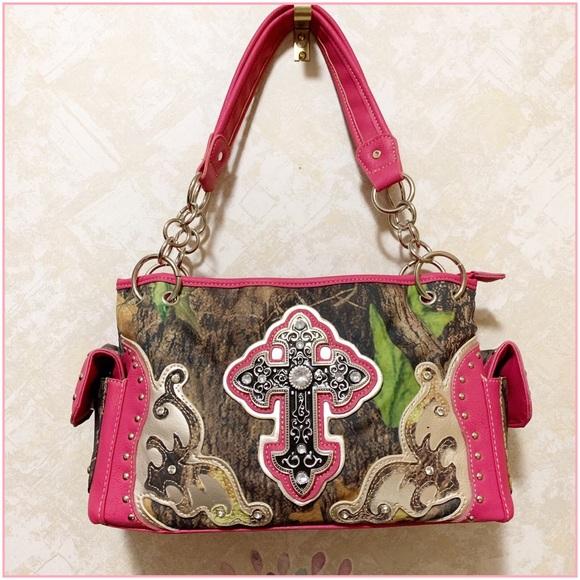 mélange posh Handbags - Bright Pink Camo Bling Cross Purse